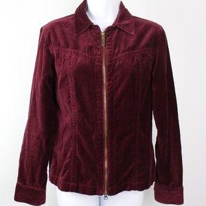 CAbi Jackets & Coats - CAbi burgundy red velvet jacket full zip collar